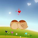 Cute Bird Couple Full of Love Heart by scottorz