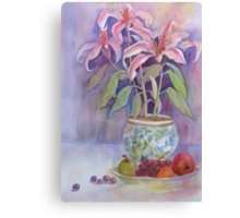 Potted Lilies with Fruit Canvas Print