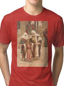 JESUS as a Boy. Antique Book Art Reproduction T-shirt. Tri-blend T-Shirt