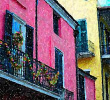 New Orleans French Quarter Balcony Colors Louisiana Artwork by Oldetimemercan