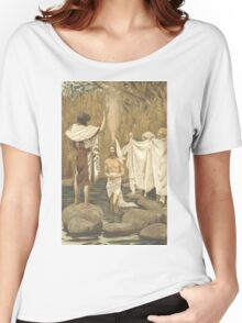 JESUS Baptised. Antique Book Art Reproduction T-shirt. Women's Relaxed Fit T-Shirt