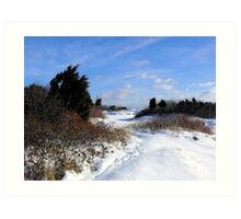 Rural Farm Life Snow Scene Poster Print And Card Art Print