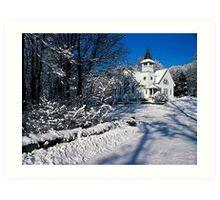 Rural Farm Life Snow Scene Church Poster Print And Card Art Print