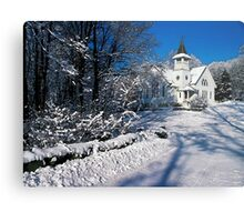Rural Farm Life Snow Scene Church Poster Print And Card Metal Print