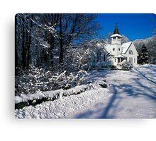 Rural Farm Life Snow Scene Church Poster Print And Card Canvas Print