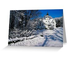 Rural Farm Life Snow Scene Church Poster Print And Card Greeting Card
