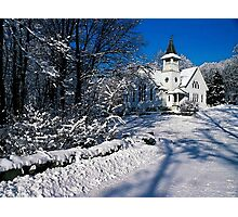 Rural Farm Life Snow Scene Church Poster Print And Card Photographic Print