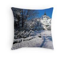 Rural Farm Life Snow Scene Church Poster Print And Card Throw Pillow