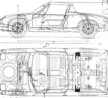 Porsche 914 Car Automobile Blueprint Poster Print And Card by Oldetimemercan