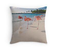 Flamingos on a Beach Throw Pillow