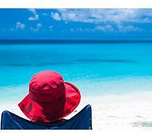 Red Hat & Blue Water Photographic Print