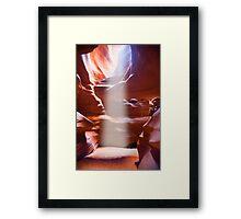 Sun Beam in Slot Canyon Framed Print