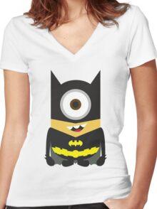 Despicable Me Minion Superheroes Batman Women's Fitted V-Neck T-Shirt