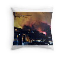 Steam train at night Throw Pillow