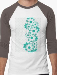 Polka Dot and Flowers Decoration Men's Baseball ¾ T-Shirt