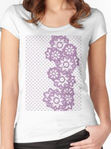 Polka Dot and Flowers Decoration Women's Fitted Scoop T-Shirt