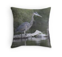 Great Blue Heron on Milwaukee River Throw Pillow