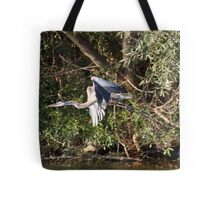 Great Blue Heron Flying Tote Bag