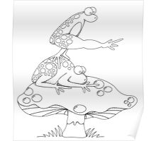 Leap Frog on a ToadStool B&W Poster