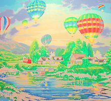 Hot Air Balloons over Country by amybcraft77