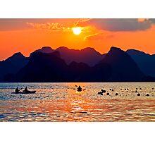 Halong Bay kayaks and sunset Photographic Print