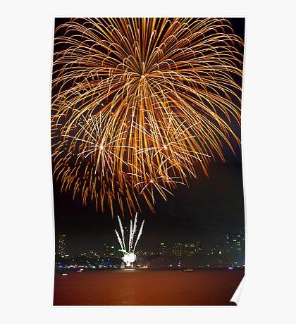 Fantastic Orange Supernova | New Years Eve | Sydney Harbour Poster