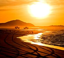 Beach highway sunset (Moreton Island, Australia) by kmatm