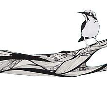 Bird sat on branch by annabelgrant