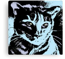 Cool Cat Graphic ~ black, blue and lavender Canvas Print