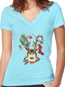 Reindeer Antlers and Christmas Stockings Women's Fitted V-Neck T-Shirt
