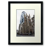The Gherkin in London with St Andrew Undershaft in the Foreground Framed Print