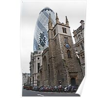 The Gherkin in London with St Andrew Undershaft in the Foreground Poster