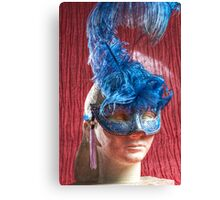 Woman sculpture with blue venetian mask HDR version Canvas Print