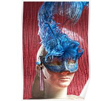 Woman sculpture with blue venetian mask HDR version Poster
