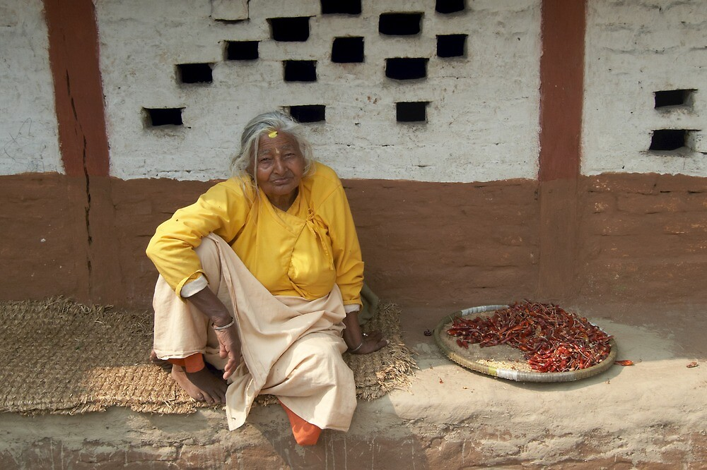 Woman with chillis by John Callaway