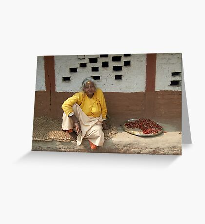 Woman with chillis Greeting Card