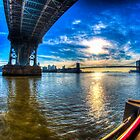 Manhattan Bridge and Brooklyn Bridge by Timothy Borkowski