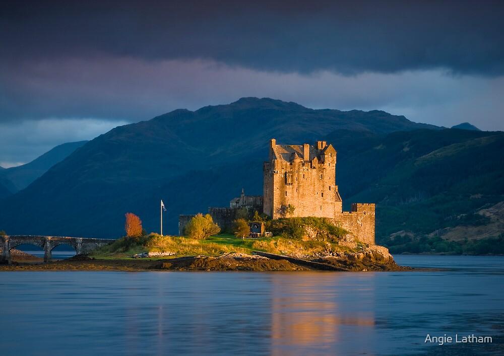 Scotland: Golden Light on Eilean Donan Castle by Angie Latham