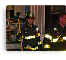 Fireman At Work In My Neighborhood Canvas Print