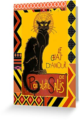 Le Chat D'Amour With Ethnic Coloured Border by taiche