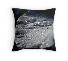 Leaf with water drops Throw Pillow
