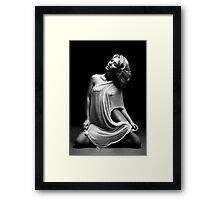 Beautiful woman with white tissue on black background Framed Print