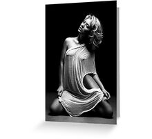 Beautiful woman with white tissue on black background Greeting Card