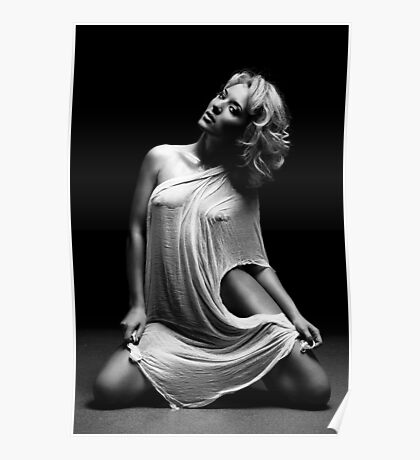 Beautiful woman with white tissue on black background Poster