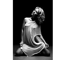 Beautiful woman with white tissue on black background Photographic Print