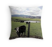 Cow at the Fence Throw Pillow