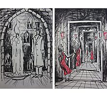 Ink Sketches - The Candle and The Doorways Photographic Print