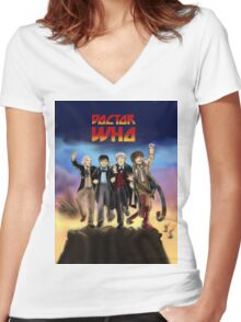 'Doctor Who meets KISS' Version 1 Women's Fitted V-Neck T-Shirt