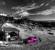 Newquay Harbour Pink Pickup  by Rob Hawkins
