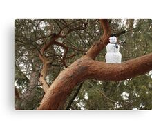 Snowman Climbed Tree Canvas Print